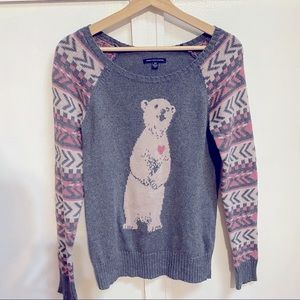 American Eagle Gray and Pink Polar Bear Sweater Sm